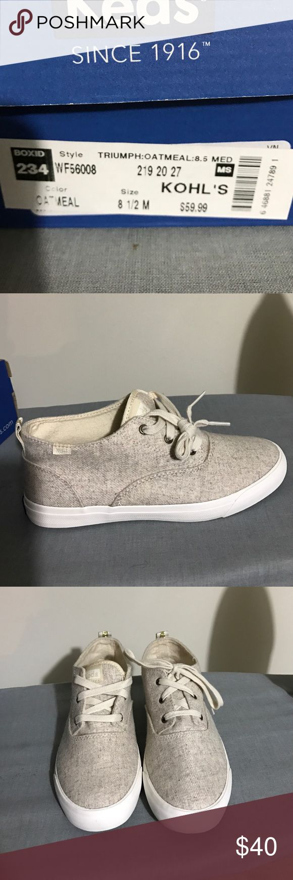 Keds sneakers Oatmeal color Keds Sneaker. NWOT. Never worn. Love them, but a tad bit too big for me. Keds Shoes Sneakers