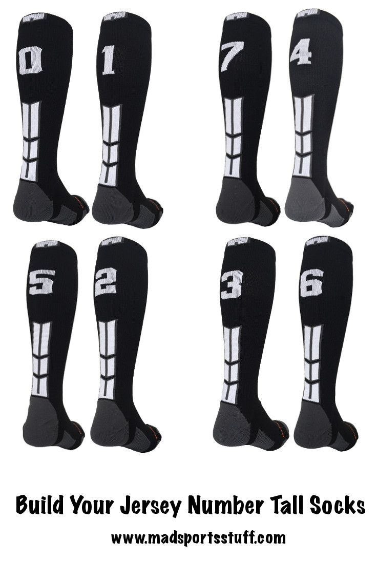 MadSportsStuff Build your own jersey number in an over the calf length. Great soccer socks, baseball socks, softball socks and more...