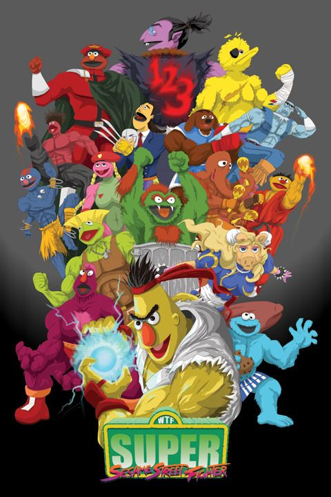 Super Sesame Street Fighter Parody Poster