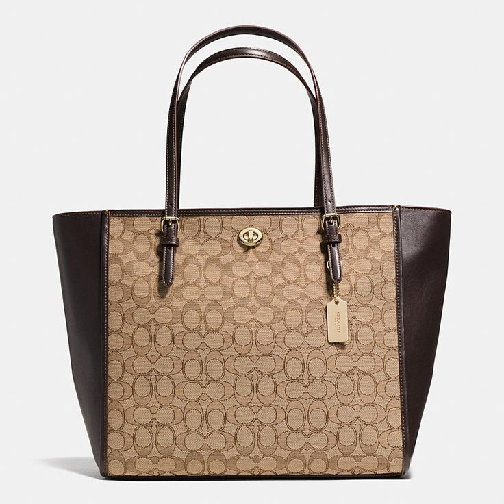 This effortless, go-anywhere tote is crafted in a graphic mix of smooth leather and signature fabric, with ample room for essentials inside. Buckled strap anchors and a hidden turnlock pocket add a quintessential Coach finish to its hand-assembled design.