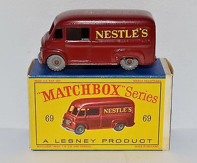 matchbox lesney no 69 commer van nestles in rare d type original box. Black Bedroom Furniture Sets. Home Design Ideas