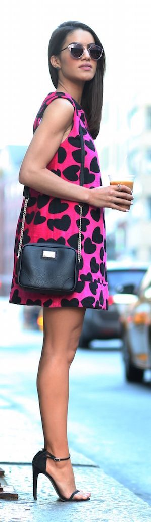Camila Coelho Pink And Black Heart Print Shift Dress SHOP @ CollectiveStyles.com