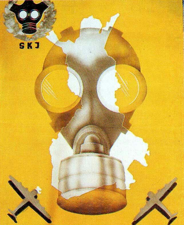 Finnish gas attack defense poster. WWII