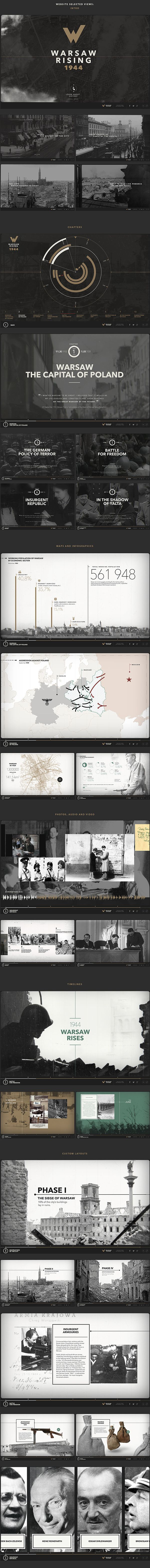 App or website maybe?  I like the timeline (interactive?) element along the bottom of most pages, grounding you in where you are with the web/app. I have seen this done on iPad magazine apps too.   Warsaw Rising on Behance — Designspiration