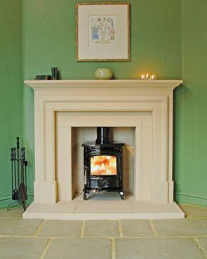 Georgian fireplace surround, shown with stone slips + AGA Little Wenlock stove