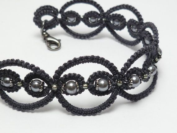 So pretty! Tatted Lace Bracelet in charcoal with glass beading -Infinity