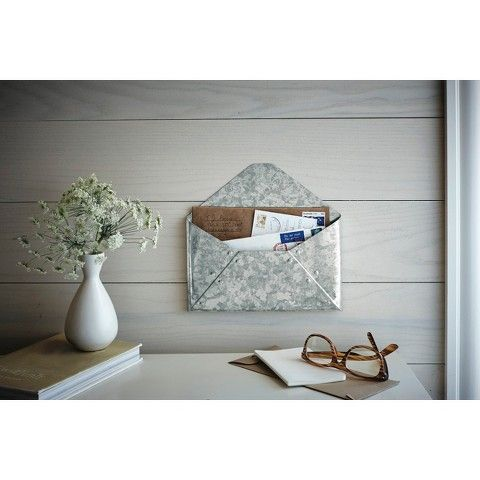 Galvanized steel mail holder - so cute that it looks like an envelope! Great addition to a rustic chic kitchen