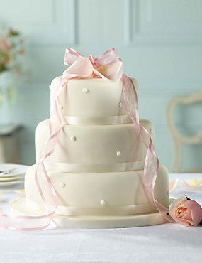 Romantic Pearl Assorted Wedding Cake Ivory Icing From Marks And Spencer With A Dark Green Ribbon Instead Of Pink