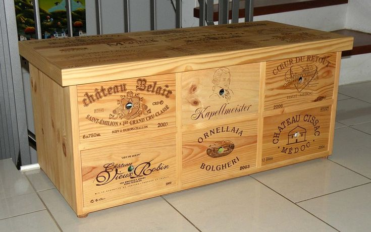 wine crate projects | Small cabinet furniture made with used wine crates