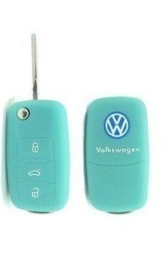 VW Volkswagen LUMINOUS BLUE Remote Flip Key Silicone Protecting Key Case Cover Fob Holder 3 Buttons