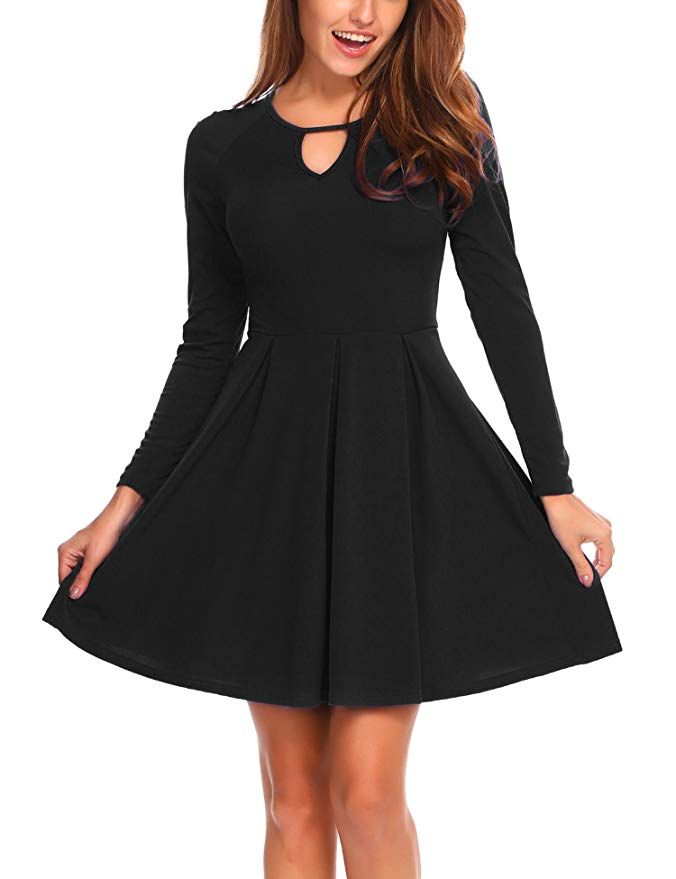 4108475184b6 Zeagoo Women s Simple Designed Long Sleeve Round Neck Casual Flared Midi  Dress Black