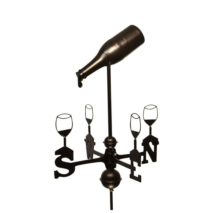 Small Dalvento 205C Banner Weathervane Pure Copper with Traditional Directionals and Globes