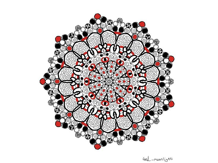 Mandala  Red White Black