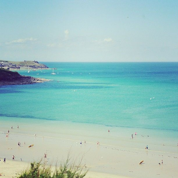 Stunning Carbis Bay in #Summer.  Love the colours of this gorgeous part of the Cornish coast at this time of the year #blue #Cornwall #Instagram #CarbisBay #StIves