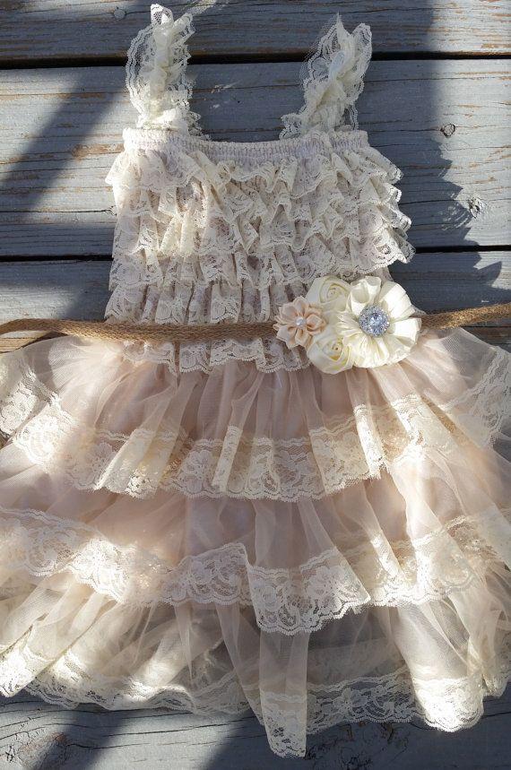 For my flower girl! Etsy listing at https://www.etsy.com/listing/188918762/lace-flower-girl-dressshabby-chic-flower