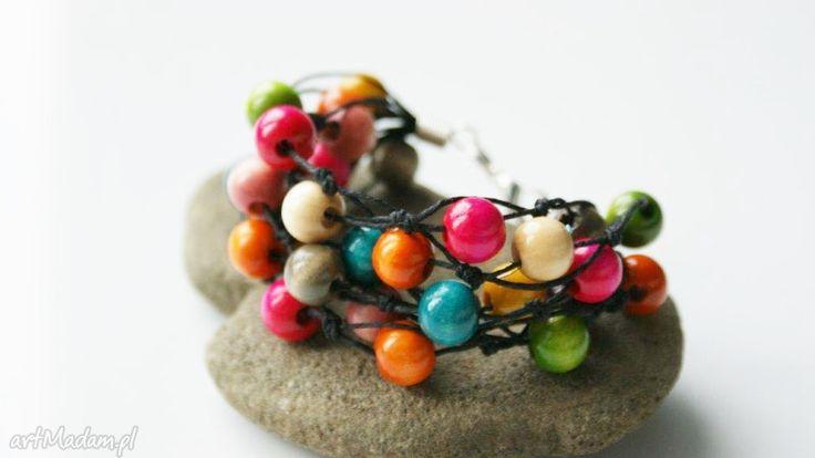 Bransoletka kolorowe drewienka bransoletki pracowniamila kolorowa