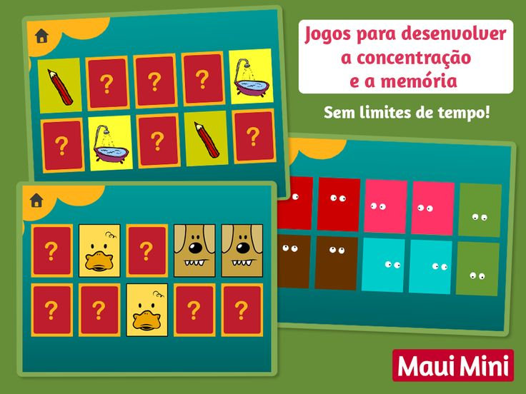 Reconhecendo pares iguais, as crianças irão exercitar sua memória de curto prazo. Jogos fantásticos para crianças em idade pré-escolar! Maui Mini App Jogos Educativos.