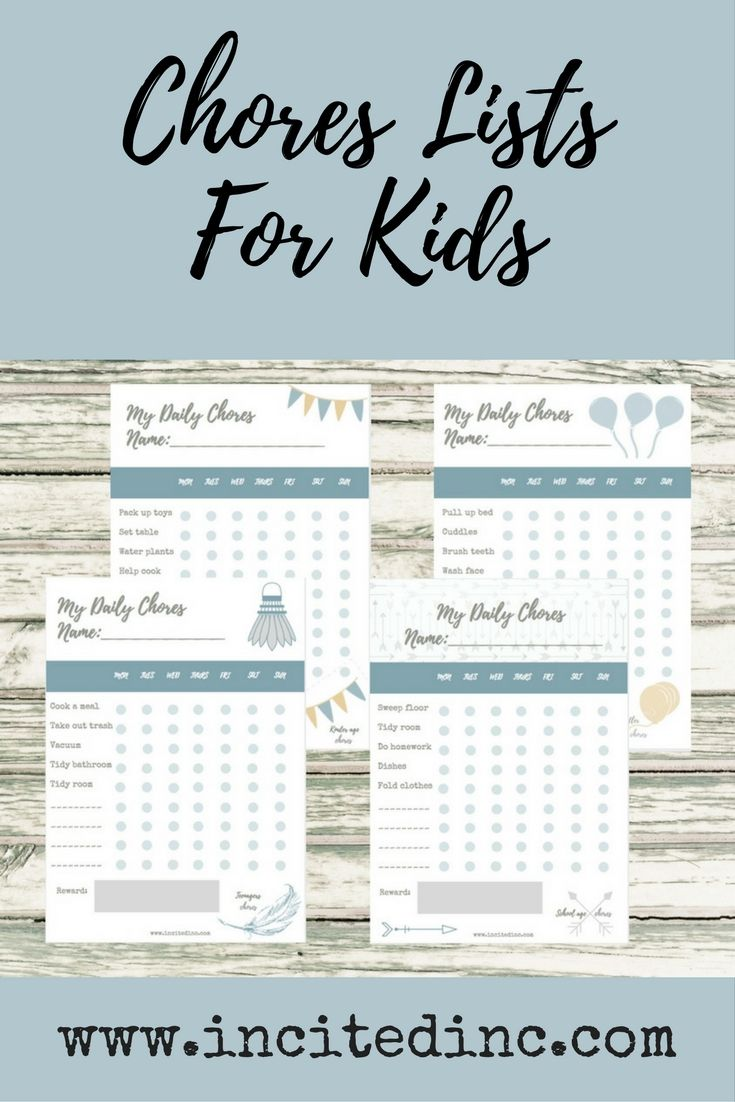 GET THE KIDS INVOLVED... AND GET YOUR SANITY BACK! We were asked if we could put together a printable chores list for kids, to help keep mum and dad's sanity intact! This pack includes four printables to cover all age groups in your family: toddlers, kindy kids/preschoolers, school age kids and teenagers. Print one off for each of the kids in your home, and personalise it with their name and chores. We've put in a few suggestions to help you out.