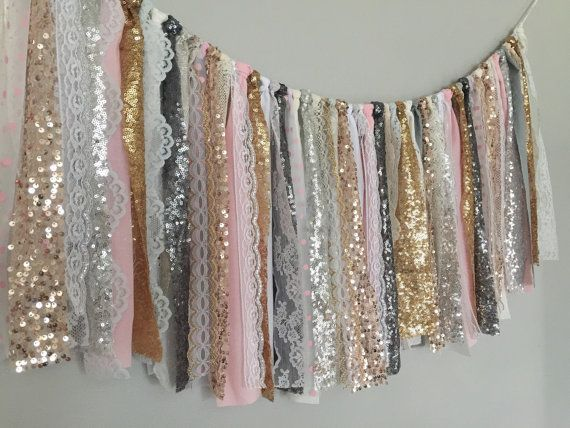 Mixed metallic sequin garland banner with Pink Grey by ohMYcharley