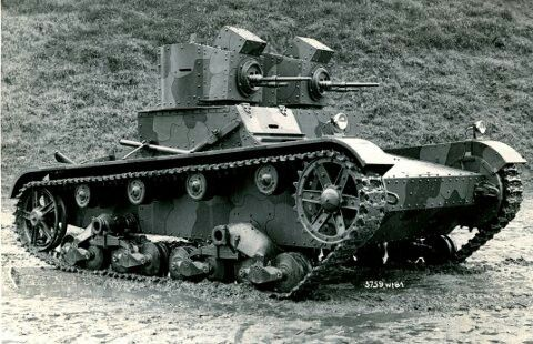 Vickers Tank. The Polish modified their Vickers tanks fitting much larger and obvious air intakes behind the turrets.
