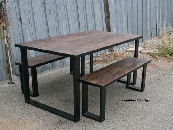 Steel And Reclaimed Wood Dining Set Urban Table Modern Etsy In 2020 Custom Dining Tables Farmhouse Dining Table Wood Table Modern