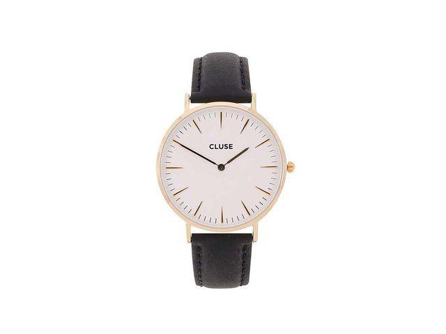 Bílo-černé unisex kožené hodinky CLUSE La Bohème Gold 2489 Kč
