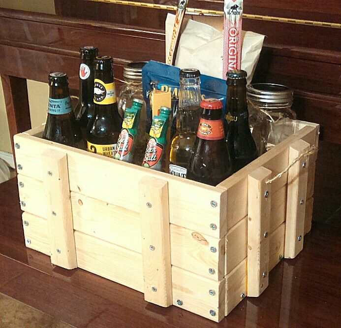 Picnic Basket Relay : Wooden beer gift crate basket baskets