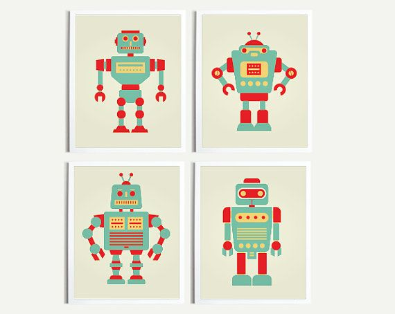 Baby art print robot print room decor nursery decor for Robot room decor