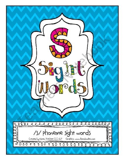 Speech Therapy Articulation Sight Words for /s/ (Homework, Games, & Flashcards) from Mrs. Pritchetts Printables on TeachersNotebook.com (13 pages)  - Incorporating sight words into articulation therapy - Initial and Final /s/ phoneme sight word activities
