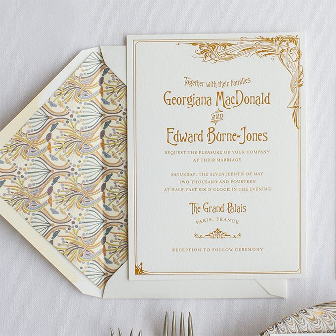 Bernhardt | Lucky Luxe Couture Correspondence | Letterpress Wedding Stationery Like the swirling, intricate posters of French actresses of the late 1800s, this invitation is inspired by the art nouveau movement. Bernhardt and Peacock were both originally designed for Martha Stewart Weddings magazine.