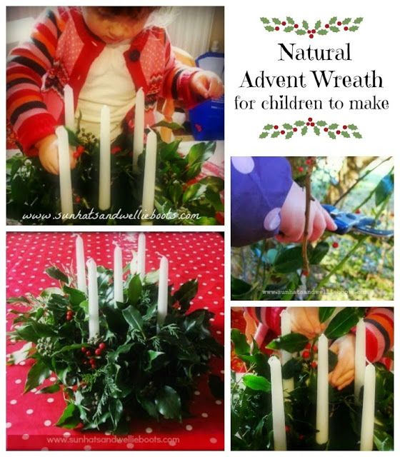 Homemade Advent Wreath - with natural materials