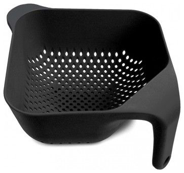 Square Colander, Black, Large - modern - colanders and strainers - CutleryAndBeyond