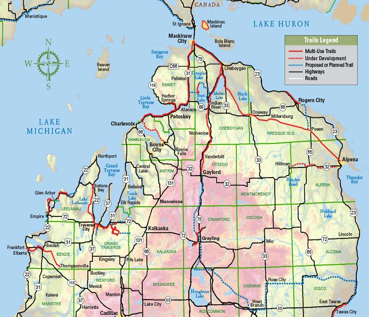 Michigan Trails Interactive Map North Michigan Trails