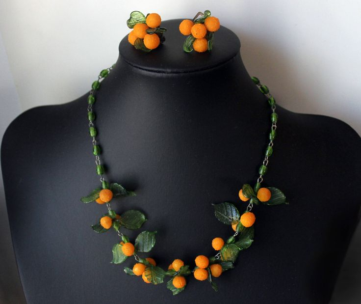1940s Italian art glass fruit oranges necklace and earrings
