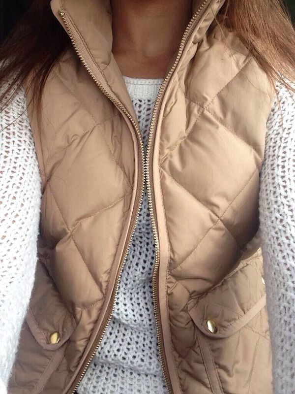 Beige Vest & White 'Knitted' Sweater |
