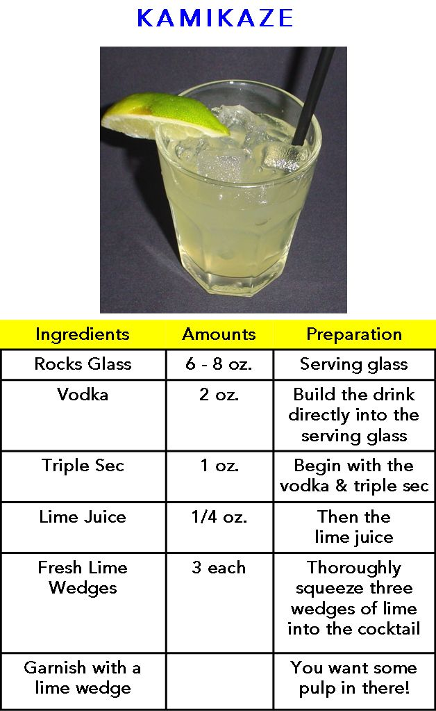 Kamikaze recipe. So I can start making them at home.