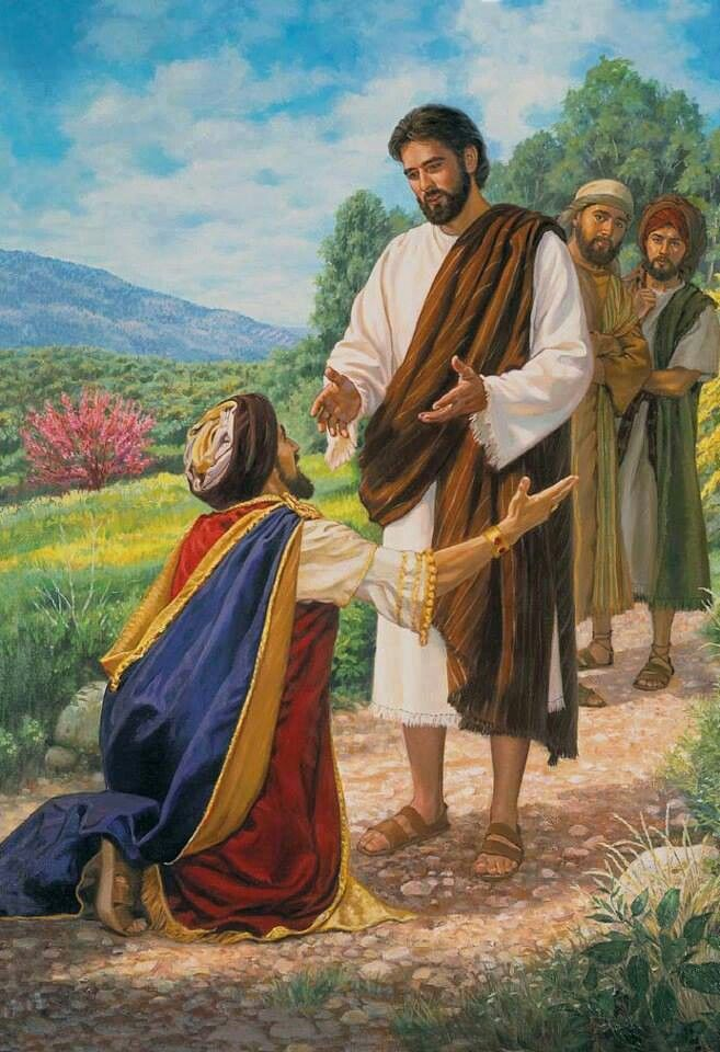 """Mark 10:17-23 - The rich man and Jesus. """"A man ran up and fell on his knees before him and put the question to him: """"Good Teacher, what must I do to inherit everlasting life?"""" """""""