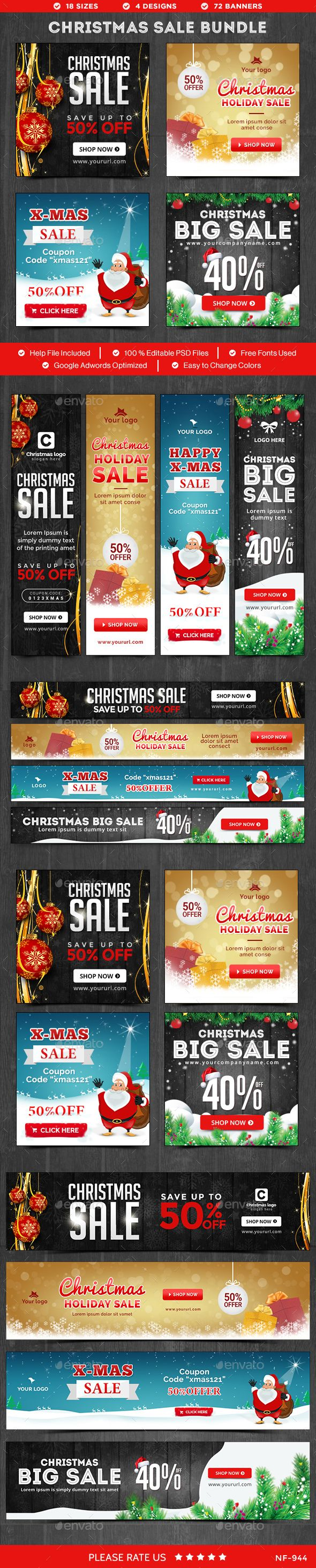 Christmas Sale Banners Bundle - 4 Sets - Images Included