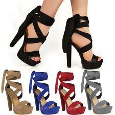 Para Mujer Damas lazo de encaje arriba del tobillo tacones altos bloque plataformas Partido zapatos abiertos Tamaño