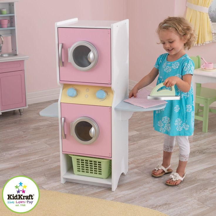 KidKraft Wooden Laundry Play Set with Iron and Laundry Basket Washer Dryer NEW