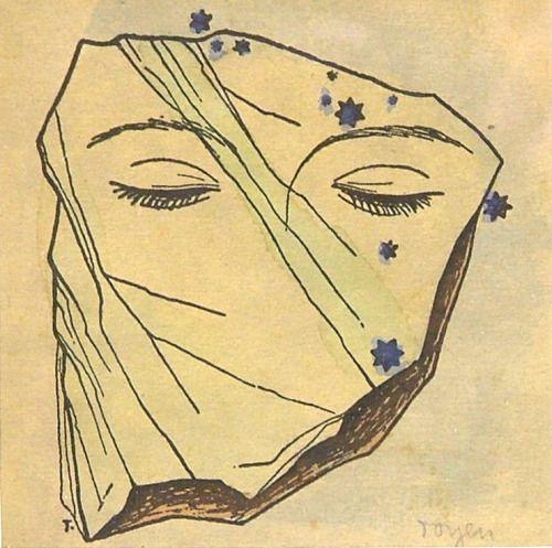 """amare-habeo: """" Toyen (Marie Čermínová) (Czech, 1902-1980) Dreaming face under the stars (Snící tvář pod hvězdami), 1946 """""""