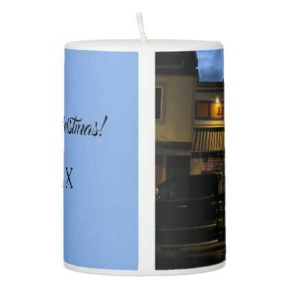 Blue Moon Cafe Christmas Wax Candle Customizable Pillar Candle - light gifts template style unique special diy