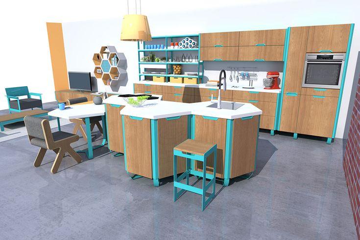 Concept Hexagonal System, cuisine hexagonale,  Pierre Furnemont Design Studio #Cuisine #Kitchen #Hexagonal