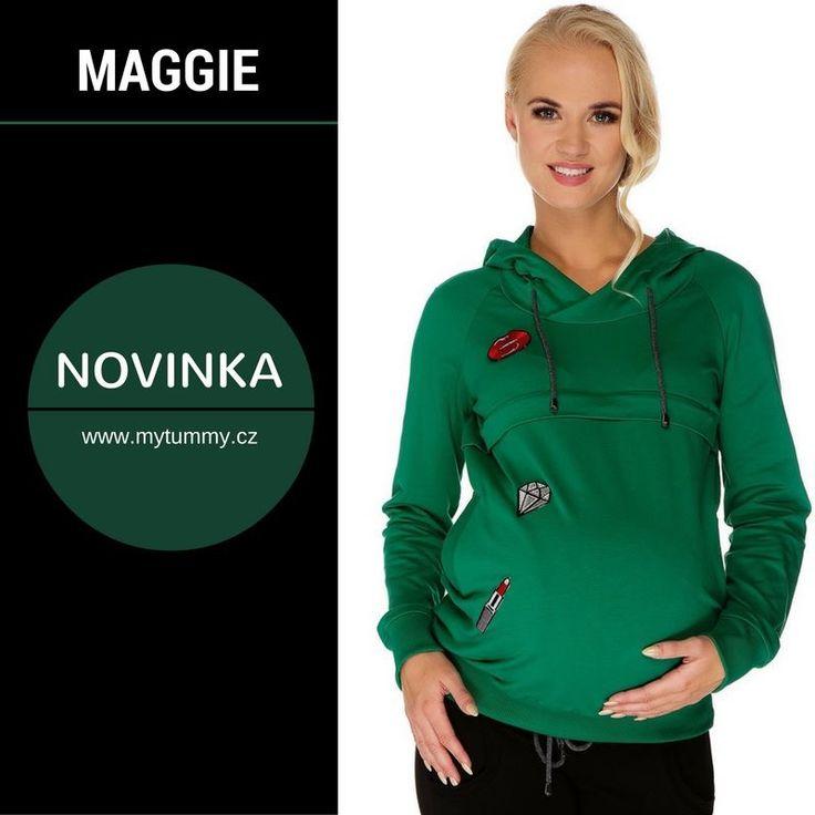 NOVINKA!  Šikovnou mikinu MAGGIE, kterou využijete v období těhotenství, kojení, ale také vás bude bavit ve chvílích, kdy už budete maminkou, jsme naskladnili také v lákavém odstínu zelené :-)