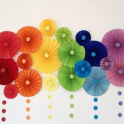 Simple paper rosettes decoration