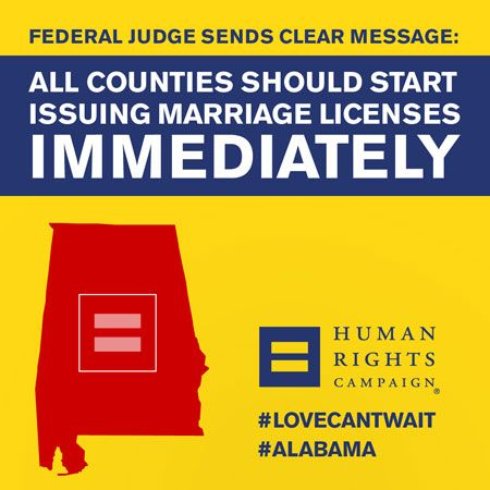 February 12, 2015: Alabama probate judges are ordered to begin issuing marriage licenses immediately.