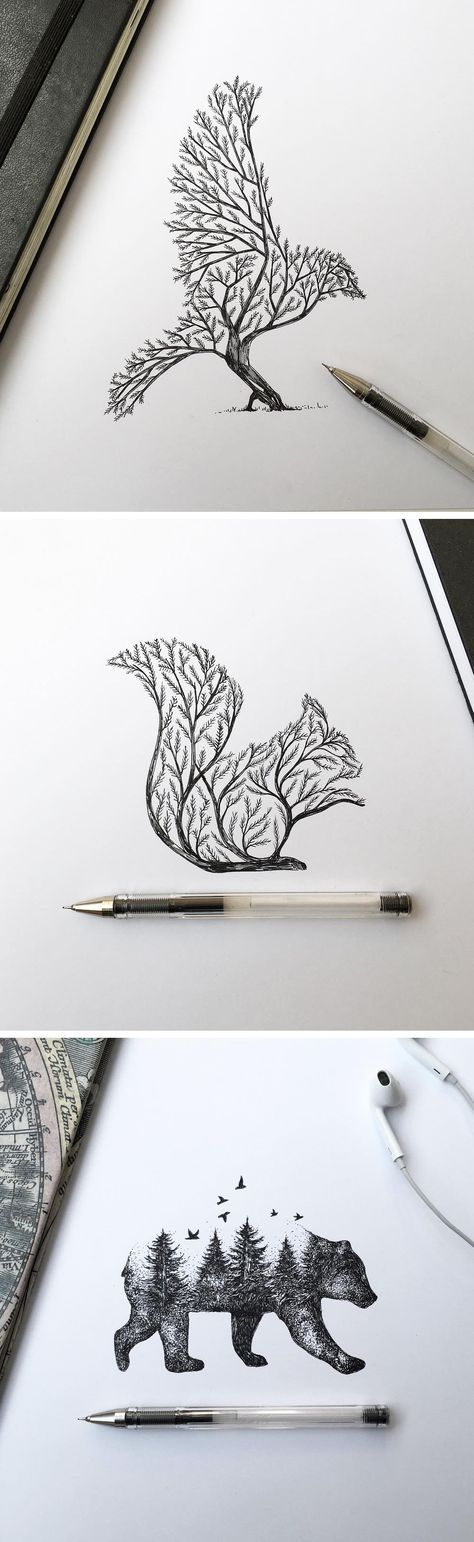 Pen & Ink Depictions of Trees Sprouting into Animals by Alfred Basha--Love the bird