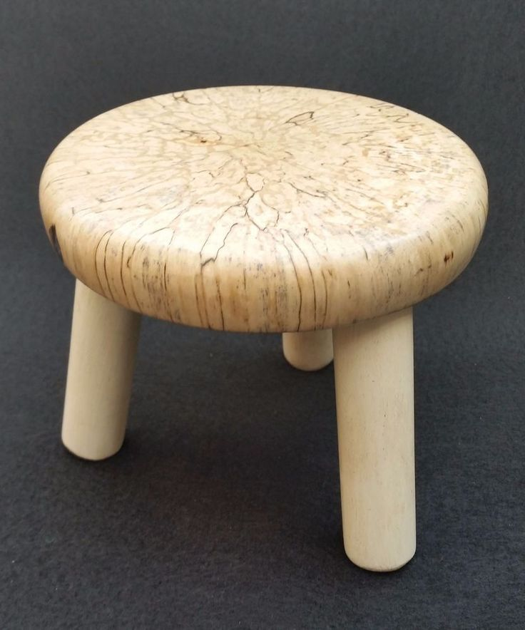 Cute Little 3 legged Candle Plant Stand Spalted Birch / flat-pack self assembly