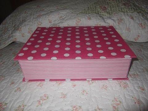 como fazer porta joia com capa de caderno forrado em tecido