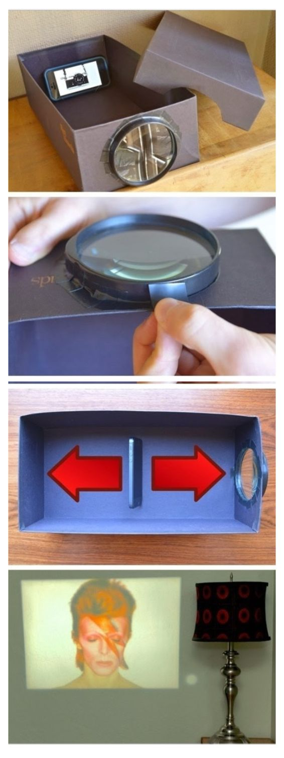 Iphone Projector- shoe box, magnifying glass, tape, pencil, blade